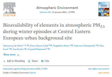 Bioavailability of elements in atmospheric PM2.5 during winter episodes at Central Eastern European urban background site