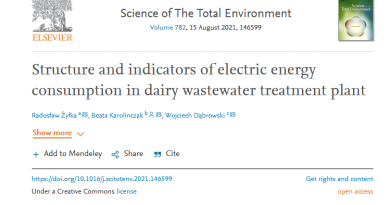 Structure and indicators of electric energy consumption in dairy wastewater treatment plant