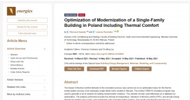 Optimization of Modernization of a Single-Family Building in Poland Including Thermal Comfort