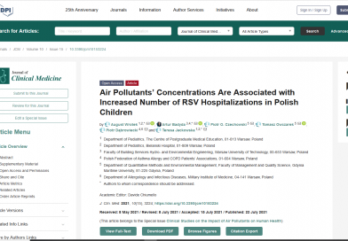 Air Pollutants' Concentrations Are Associated with Increased Number of RSV Hospitalizations in Polish Children